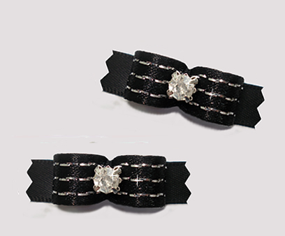 "#T9233- 3/8"" Dog Bow - Gorgeous Classic Black Glam, Rhinestone"