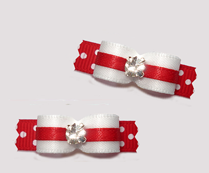 "#T9234 - 3/8"" Dog Bow - Classic Red/White w/Dots, Rhinestone"