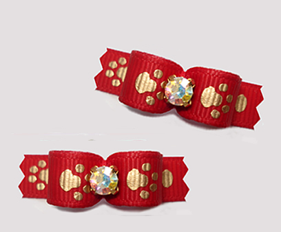 "#T9237 - 3/8"" Dog Bow - Perfect Little Puppy Paws, Red/Gold"