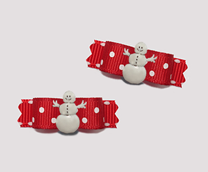 "#T9245 - 3/8"" Dog Bow - Winter Red w/Sprinkle Dots, Cute Snowman"