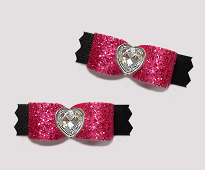"#T9248 - 3/8"" Dog Bow - Glitter, Diva Hot Pink/Black, Heart"