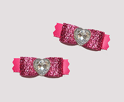 "#T9249 - 3/8"" Dog Bow - Gorgeous Glitter, Glam It Up Pink, Heart"