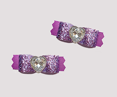 "#T9250 - 3/8"" Dog Bow - Gorgeous Glitter, Orchid Purple, Heart"