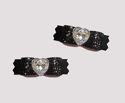 "#T9251 - 3/8"" Dog Bow - Gorgeous Glitter, Classic Black, Heart"
