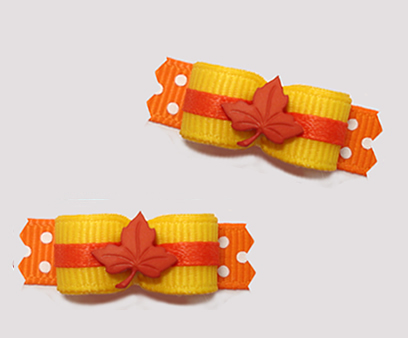 "#T9254 - 3/8"" Dog Bow - Maple Leaf, Daffodil Yellow/Orange"