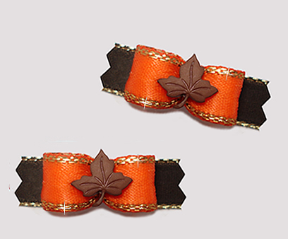 "#T9255 - 3/8"" Dog Bow - Maple Leaf, Orange/Gold/Brown"