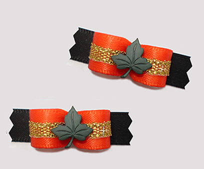 "#T9258 - 3/8"" Dog Bow - Maple Leaf, Orange/Gold/Black"