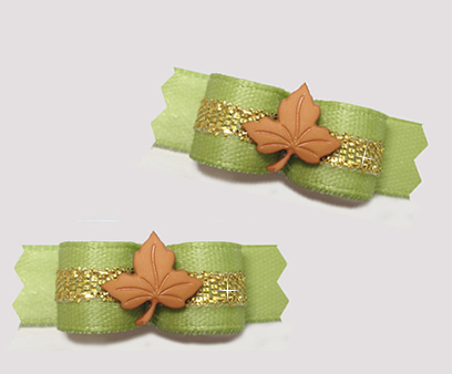 "#T9259 - 3/8"" Dog Bow - Maple Leaf, Soft Green/Gold"