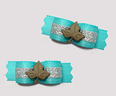 "#T9260 - 3/8"" Dog Bow - Maple Leaf, Aqua/Silver"