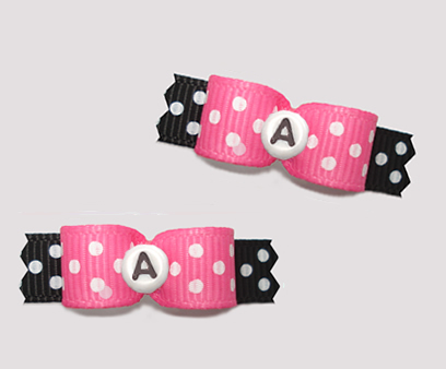 "#T9264 - 3/8"" Dog Bow - Fun Dots, Pink/Black, Custom Letter"