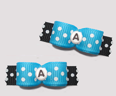 "#T9268 - 3/8"" Dog Bow - Fun Dots, Blue/Black, Custom Letter"