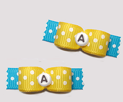 "#T9269 - 3/8"" Dog Bow - Fun Dots, Yellow/Blue, Custom Letter"