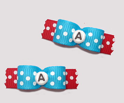 "#T9273 - 3/8"" Dog Bow - Fun Dots, Blue/Red, Custom Letter"
