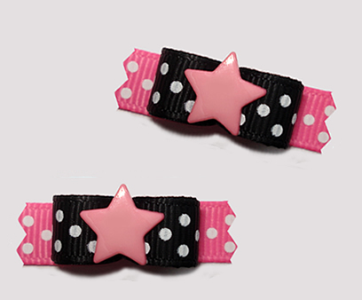 "#T9276 - 3/8"" Dog Bow - Star Power, Black/Hot Pink"