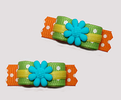 "#T9278 - 3/8"" Dog Bow - Flower Power, Green/Orange, Blue Flower"