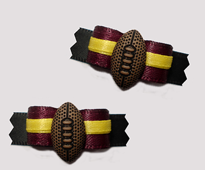 "#T9279- 3/8"" Dog Bow- Team Spirit, Deep Burgundy/Black, Football"