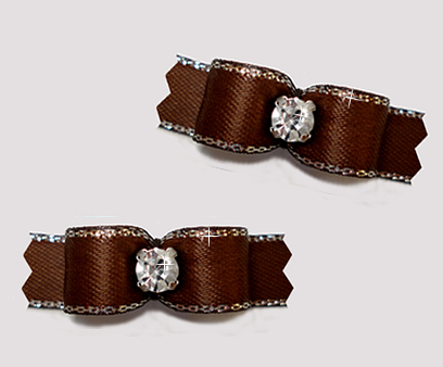 "#T9281 - 3/8"" Dog Bow - Rich Brown, Silver Edge, Rhinestone"