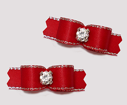"#T9282 - 3/8"" Dog Bow - Classic Red, Silver Edge, Rhinestone"