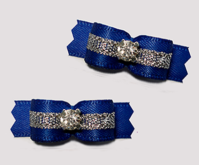"#T9285 - 3/8"" Dog Bow - Regal Blue/Sparkly Silver, Rhinestone"