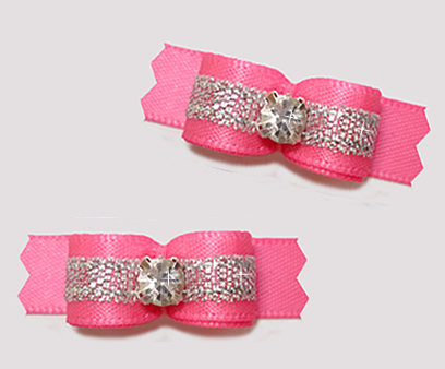 "#T9286 - 3/8"" Dog Bow - Perfect Pink/Sparkly Silver, Rhinestone"