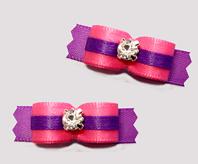 "#T9290 - 3/8"" Dog Bow - Perfect Pink/Orchid Purple, Rhinestone"