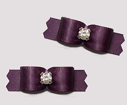 "#T9293 - 3/8"" Dog Bow - Satin, Awesome Amethyst with Rhinestone"