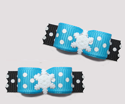 "#T9294 - 3/8"" Dog Bow - Let It Snow! Blue/Black, Snowflake"