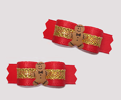 "#T9295 - 3/8"" Dog Bow - Classic Red Satin/Gold, Gingerbread Man"