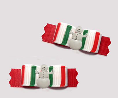 "#T9297 - 3/8"" Dog Bow - Sweet Candy Cane Stripes, Cute Snowman"