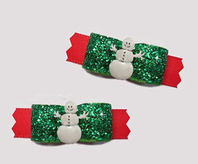 "#T9300 - 3/8"" Dog Bow - Gorgeous Festive Glitter, Cute Snowman"