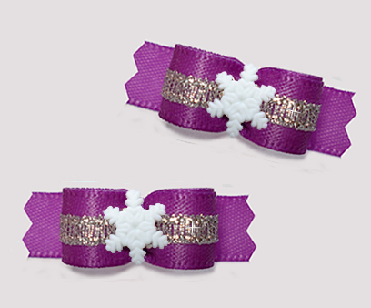 "#T9303 - 3/8"" Dog Bow - Pretty Purple/Silver, Tiny Snowflake"
