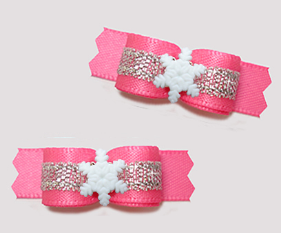 "#T9304 - 3/8"" Dog Bow - Perfect Pink/Siliver, Tiny Snowflake"