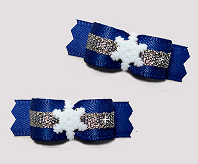 "#T9305 - 3/8"" Dog Bow - Regal Blue/Silver, Tiny Snowflake"