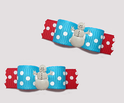 "#T9306 - 3/8"" Dog Bow - Happy Snowman, Sprinkle Dots, Blue/Red"