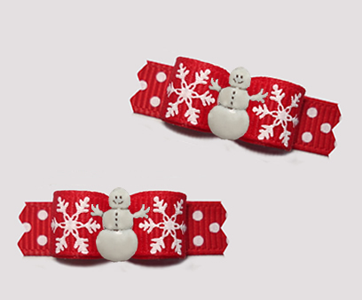 "#T9308 - 3/8"" Dog Bow - A Sprinkle of Snow, Red/White, Snowman"