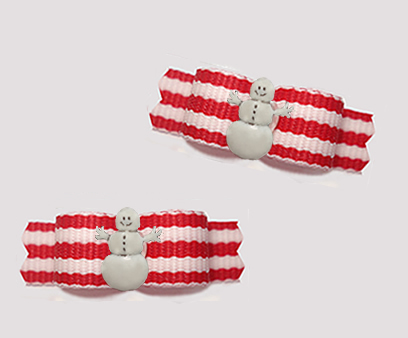 "#T9310 - 3/8"" Dog Bow - Sweet Candy Cane Stripes, Snowman"