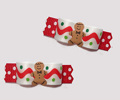 "#T9311 - 3/8"" Dog Bow - Gingerbread Man, Squiggles 'n Dots"