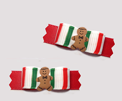 "#T9313- 3/8"" Dog Bow - Sweet Candy Cane Stripes, Gingerbread Man"