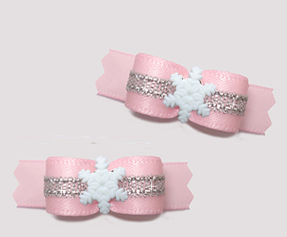 "#T9315 - 3/8"" Dog Bow - Baby Pink/Silver, Tiny Snowflake"