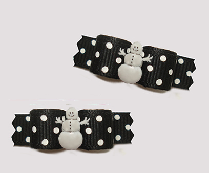 "#T9318- 3/8"" Dog Bow - Classic Black with Sprinkle Dots, Snowman"