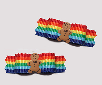 "#T9320- 3/8"" Dog Bow - Colorful Rainbow Stripes, Gingerbread Man"