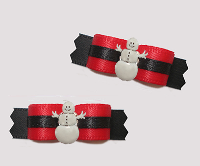 "#T9321 - 3/8"" Dog Bow - Classic Red/Black with Snowman"