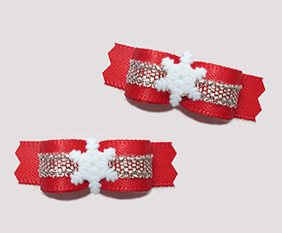 "#T9324 - 3/8"" Dog Bow - Classic Red/Silver, Tiny Snowflake"
