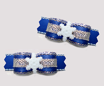 "#T9325 - 3/8"" Dog Bow - Beautiful Blue/Silver, Tiny Snowflake"