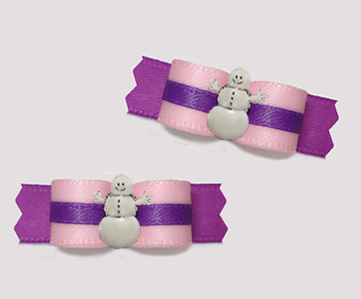 "#T9327 - 3/8"" Dog Bow - Baby Pink/Orchid Purple, Snowman"