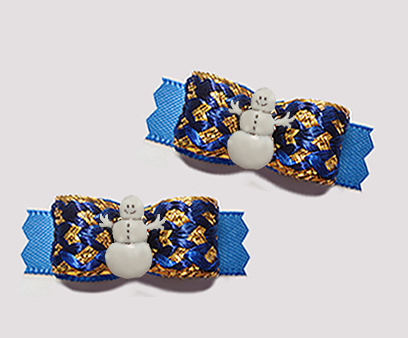 "#T9329 - 3/8"" Dog Bow - Spectacular Regal Blue and Gold, Snowman"