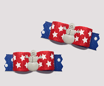 "#T9331 - 3/8"" Dog Bow - Happy Patriotic Snowman, Red/White/Blue"