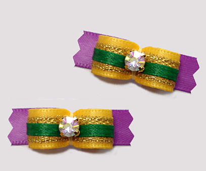 "#T9334 - 3/8"" Dog Bow - Mardi Gras Sparkle"