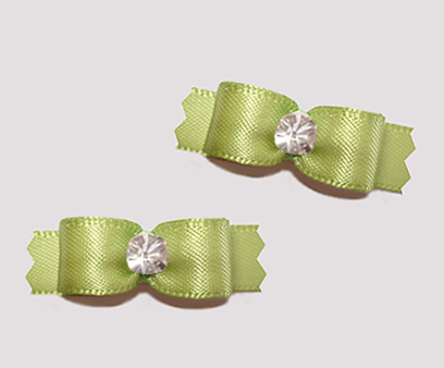 "#T9337 - 3/8"" Dog Bow - Satin, Lovely Sage with Rhinestone"