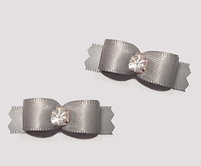 "#T9338 - 3/8"" Dog Bow - Satin, Slate with Rhinestone"